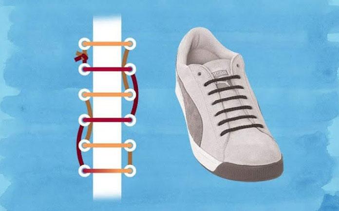 Cách buộc dây giày kiểu đường thẳng song song